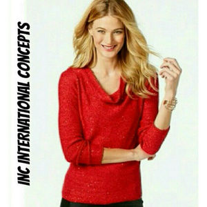 INC Red Sequin Sweater NWT $90 M